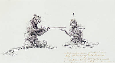 Montana Painting - Bear And Indian Smoking Pipe by Celestial Images