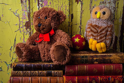 Bear And Owl On Old Books Print by Garry Gay