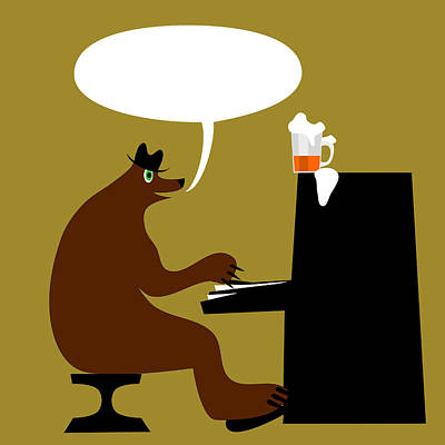 Bear By Piano  Print by Lenka Rottova