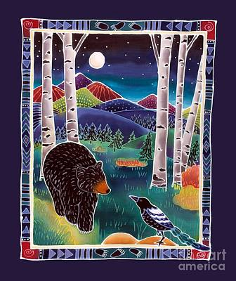 Magpies Painting - Bear Greets Magpie by Harriet Peck Taylor