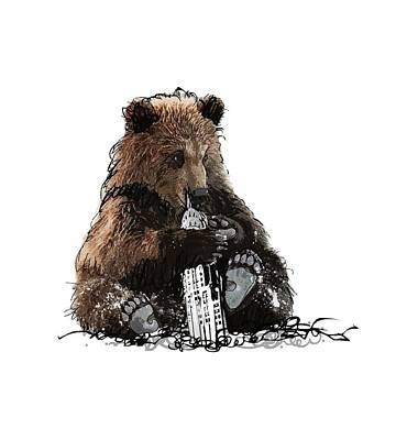 Empire State Building Drawing - Bear Loves Ny by Devlin