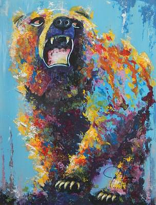 Pallet Knife Painting - Bear Market C by John Henne