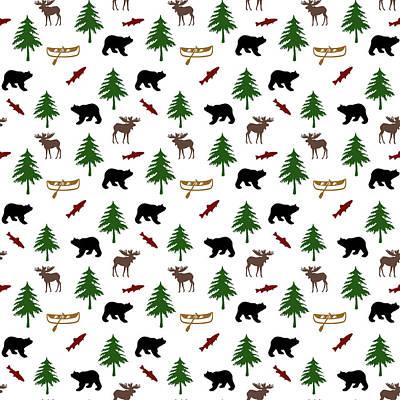 Bear Moose Pattern Print by Christina Rollo