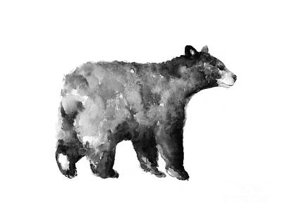 Bass Painting - Bear Watercolor Drawing Poster by Joanna Szmerdt