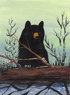 Lake Superior Art Gallery Painting - Bear With Log by Francis Esquega