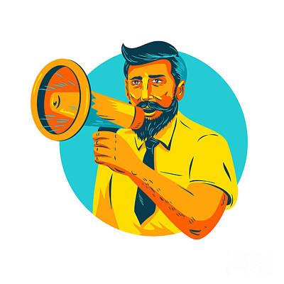 Hairstyle Digital Art - Bearded Hipster Man With Megaphone Wpa by Aloysius Patrimonio