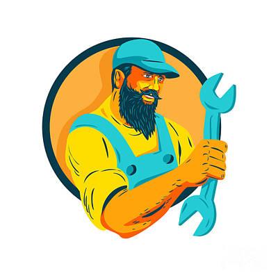 Hairstyle Digital Art - Bearded Mechanic Holding Spanner Circle Wpa by Aloysius Patrimonio