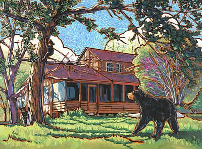 Bears At Barton Cabin Print by Nadi Spencer