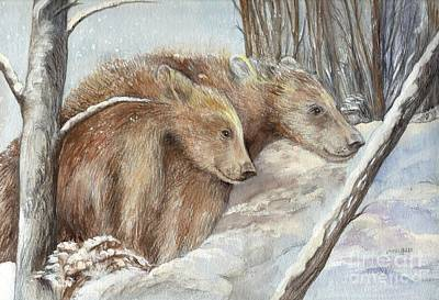 Nature Scene Mixed Media - Bears In The Snow by Morgan Fitzsimons