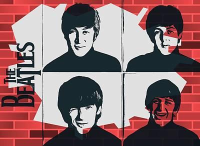 John Lennon Image Digital Art - Beatles Graffiti Tribute by Dan Sproul