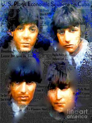 Fab Four Digital Art - Beatles Capsule - Beatles Pop Art Canvas by Leah Devora