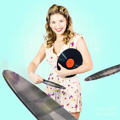 Beautiful 70s Dj Pinup Girl With Record Music Disc Print by Ryan Jorgensen