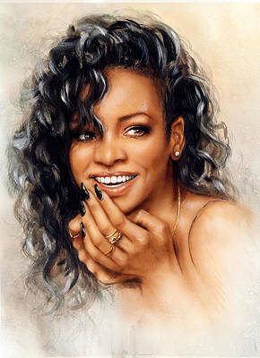 Rihanna Painting - beautiful airbrush portrait of Rihanna with red hair and a face close up with her hand touching her by Jozef Klopacka