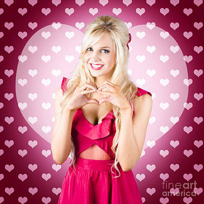 Beautiful Blonde Woman Gesturing Heart Shape Print by Ryan Jorgensen