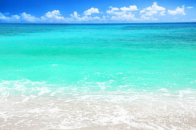 Beautiful Blue Sea Beach Print by Anna Omelchenko