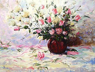 Finding Fine Art Painting - Beautiful Bouquet Of Roses by Richard T Pranke