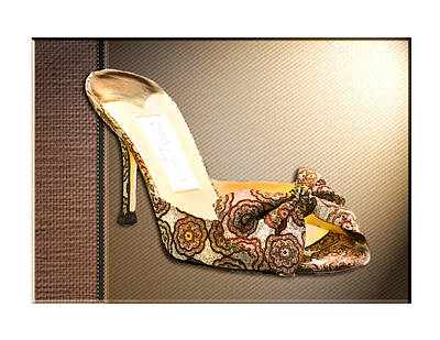 Stilettos Painting - Beautiful Brocade Slippers For A Ball by Elaine Plesser