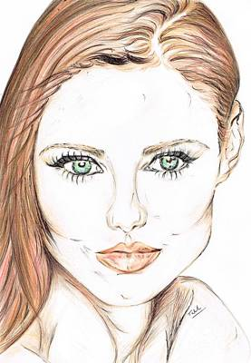 Eye Lashes Drawing - Brunette- So Beautiful  by Teresa White