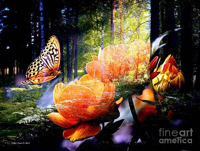 Photograph - Beautiful Butterfly And Flowers In Forest by Annie Zeno