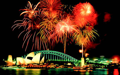 Fireworks Display Painting - Beautiful Colorful Holiday Fireworks 2 by Lanjee Chee