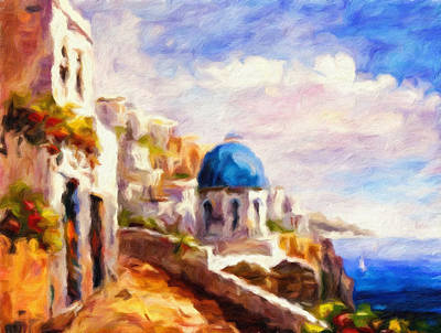 Beautiful Greece Print by Georgiana Romanovna