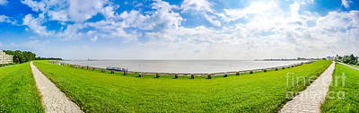Beautiful Long Beach With Typical Northsea Beachchairs In Cuxhav Print by JR Photography