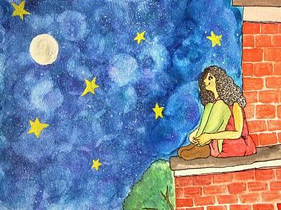Stargazing Mixed Media - Beautiful Night by Aswathy Gopalakrishnan