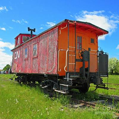 Beautiful Red Caboose Original by Crystal Loppie