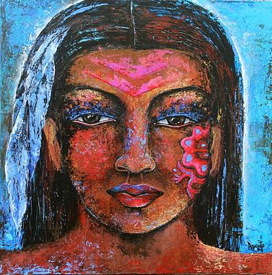 Indian Tribal Art Painting - Beautiful Scars by Janice Aponte