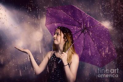 Beautiful Storm Woman Catching Falling Rain Drops Print by Jorgo Photography - Wall Art Gallery