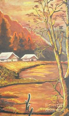 Famous Acrylic Landscape Painting - Beautiful Sunset In The Valley by Artist Nandika  Dutt