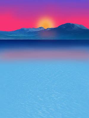 Abstract Beach Landscape Digital Art - Beautiful Sunset by Art Spectrum
