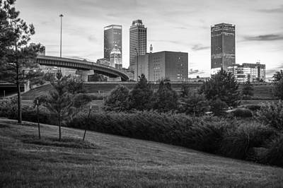 Beautiful Tulsa Oklahoma Black And White - Central Park Print by Gregory Ballos
