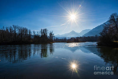 Beautiful View From Waterfront Park In Leavenworth, Washington S Print by Jamie Pham