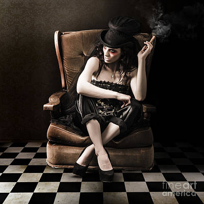 Beautiful Vintage Fashion Girl In Grunge Interior Print by Jorgo Photography - Wall Art Gallery