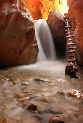 Beautiful Waterfall With Pebbles On Foreground Print by photography by Jenna Van Valen