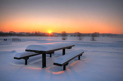Beautiful Winter Sunset Print by Jaroslaw Grudzinski