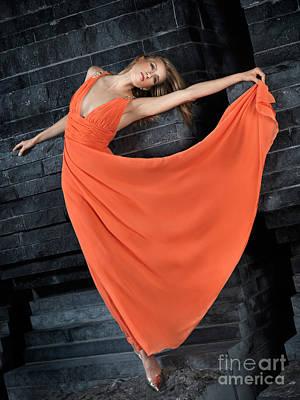 Beautiful Woman In Orange Dress Print by Oleksiy Maksymenko