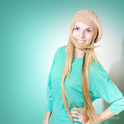 Beautiful Young Winter Woman With Long Blond Hair Print by Jorgo Photography - Wall Art Gallery