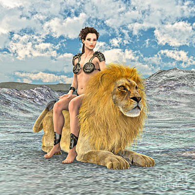 Digital Art - Beauty And Lion by Design Windmill