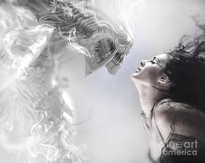 Beauty And The Beast, Beautiful Woman Kissing A Monster Print by Caio Caldas