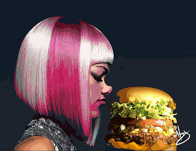 Beauty And The Burger Print by Moxxy Simmons