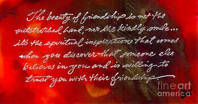 Beauty Of Friendship Print by Angela L Walker