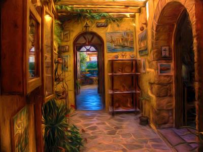 Entrance Door Mixed Media - Beauty Of Greek Architechture by Georgiana Romanovna