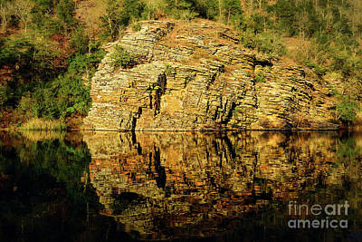 Beaver's Bend Rock Wall Reflection Print by Tamyra Ayles