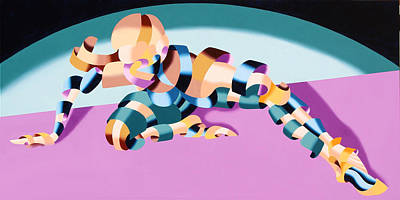Daily Painter Painting - Becca 219.02 Abstract Futurist Figurative Oil Painting by Mark Webster