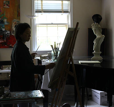 Behind The Scenes Painting - Becky Painting Chopin by Becky Kim
