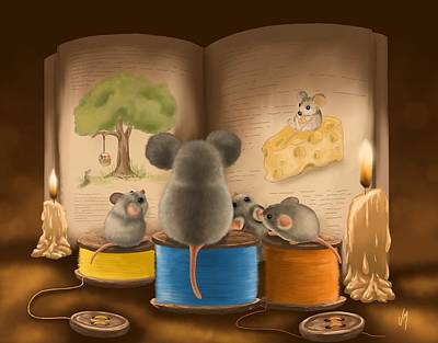 Bedtime Painting - Bedtime Story by Veronica Minozzi