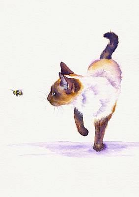 Cats Painting - Bee Free by Debra Hall