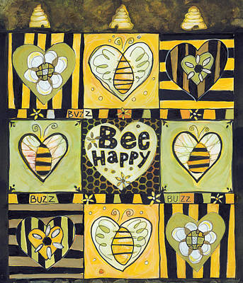 Bee Happy Print by Jen Norton